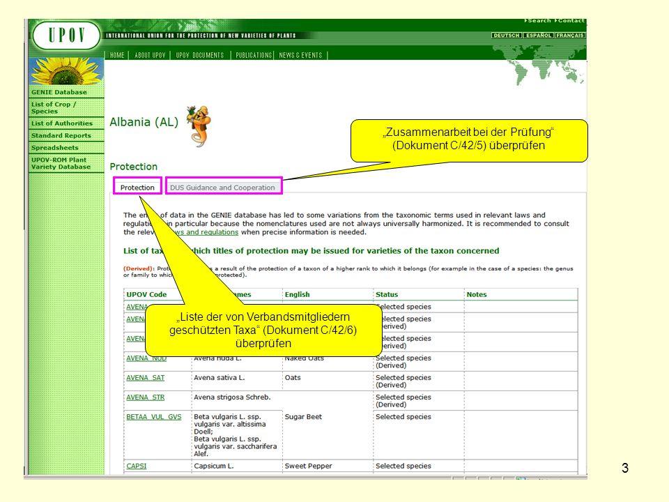3 Zusammenarbeit bei der Prüfung (Dokument C/42/5) überprüfen Liste der von Verbandsmitgliedern geschützten Taxa (Dokument C/42/6) überprüfen
