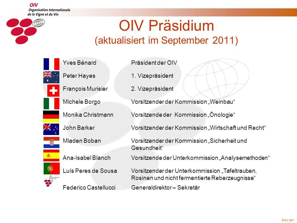 OIV 2011 Konsens ist die übliche Art der Beschlussfassung der Generalversammlung über die Annahme allgemeiner, wissenschaftlicher, technischer, wirtschaftlicher und rechtlicher Resolutionsvorschläge wie auch über die Einrichtung und Auflösung von Kommissionen und Unterkommissionen.