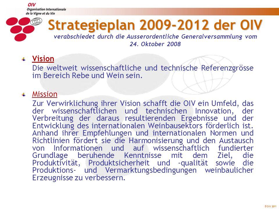 OIV 2011 Strategieplan 2009-2012 der OIV Die 15 strategischen Achsen des Plans 2009-2012 1- STATISTISCHE ANALYSE DES SEKTORS 2- WIRTSCHAFTSANALYSE DES SEKTORS 3- BIOPHYSIKALISCHES, WIRTSCHAFTLICHES UND SOZIALES UMFELD DES WEINBAUS 4- NACHHALTIGER WEINBAU, INTEGRIERTE PRODUKTION UND BIOLOGISCHE ERZEUGUNG 5- KLIMAWANDEL UND WEINBAU 6- TREIBHAUSEFFEKT: KOHLENSTOFFDIOXIDBILANZ 7- BIODIVERSITÄT UND GENETISCHE RESSOURCEN 8- REGELUNGEN UND AUSWIRKUNGEN VON BIOTECHNOLOGIEN 9- ÖNOLOGISCHE VERFAHREN UND TECHNIKEN 10- IDENTIFIZIERUNGS- UND ANALYSEMETHODEN 11- SICHERHEIT UND QUALITÄT 12- ERNÄHRUNG UND GESUNDHEIT, INDIVIDUELLE UND SOZIALE ASPEKTE 13- BEZEICHNUNG UND ETIKETTIERUNG 14- ZUSAMMENSTELLUNG, BEARBEITUNG UND VERBREITUNG VON INFORMATIONEN 15- INTERNATIONALE KOOPERATION