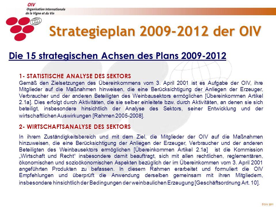 OIV 2011 Strategieplan 2009-2012 der OIV 3- BIOPHYSIKALISCHES, WIRTSCHAFTLICHES UND SOZIALES UMFELD DES WEINBAUS In der Resolution Viti 1/2003 wird festgestellt, dass folgende Punkte von besonderer Bedeutung sind und dringende Bearbeitung erfordern: Präzisionsweinbau, Biodiversität und genetische Vielfalt, Umweltschutz, Bodeneigenschaften, sensorische Qualitätsanalyse im Hinblick auf Wein- oder Traubentyp, Bewertung der Anbautechniken hinsichtlich der qualitativen, gesundheitlichen und sozialen Anforderungen, Kenntnis und Stimulierung der natürlichen Schädlingsabwehr der Rebe unter Beachtung des ökophysiologischen Gleichgewichts.
