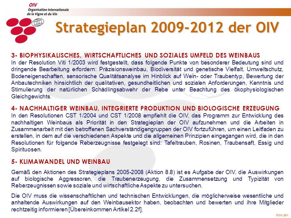 OIV 2011 Strategieplan 2009-2012 der OIV 6- TREIBHAUSEFFEKT: KOHLENSTOFFDIOXIDBILANZ Durch die Ratifizierung des Kyoto-Protokolls im Jahr 2004 wurde die Bedeutung des Konzepts der Kohlenstoffbilanz hervorgehoben, durch die die Auswirkungen der menschlichen Aktivitäten auf die Anreicherung der Erdatmosphäre mit Treibhausgas gemessen und eingeschränkt werden sollen.