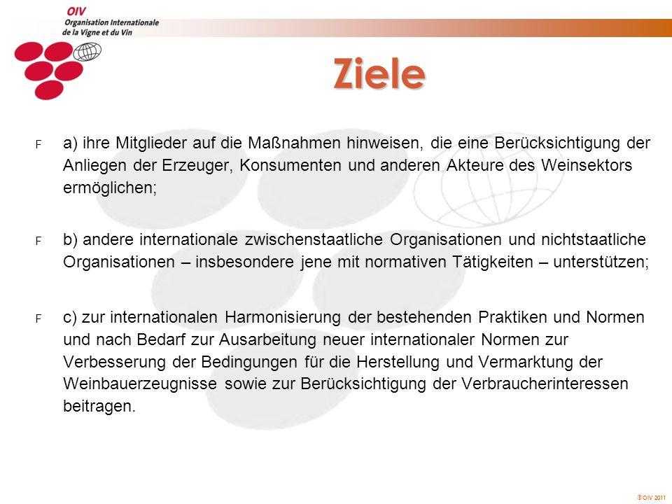 OIV 2011 Aktivitäten der OIV HARMONISIERUNG, NORMUNG, GEGENSEITIGE ANERKENNUNG ZUSAMMENARBEIT UND INTERNATIONALE VERMITTLUNG FORSCHUNG UND WISSENSCHAFTLICHES MONITORING WEINBAU-PRODUKTION UND BIOLOGISCHE VIELFALT ÖNOLOGISCHE VERFAHREN UND ANALYSEMETHODEN VERMARKTUNG UND VERBRAUCHERINFORMATION SCHUTZ DER GEOGRAPHISCHEN BEZEICHNUNGEN VERBRAUCHERSCHUTZ UND LEBENSMITTELSICHERHEIT KULTURERBE, KULTUR, GESCHICHTE UND UMWELT AUSBILDUNG UND KOMMUNIKATION