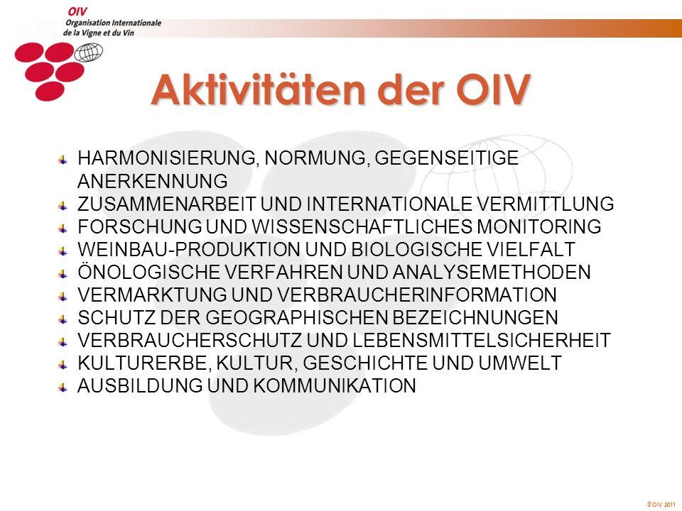 OIV 2011 Strukturen der OIV GENERALVERSAMMLUNG EXEKUTIVAUSSCHUSS WISSENSCHAFTLICH-TECHNISCHER AUSSCHUSS EXPERTENGRUPPEN KOMMISSIONEN & UNTERKOMMISSIONEN PRÄSIDIUMGENERALDIREKTION