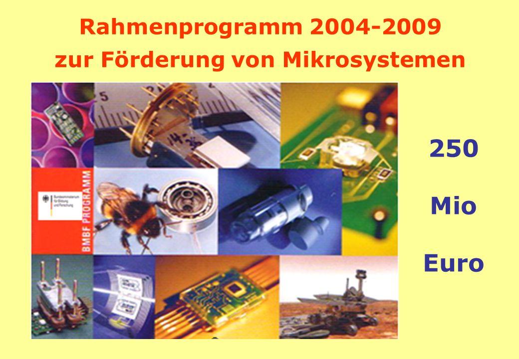 Rahmenprogramm 2004-2009 zur Förderung von Mikrosystemen 250 Mio Euro