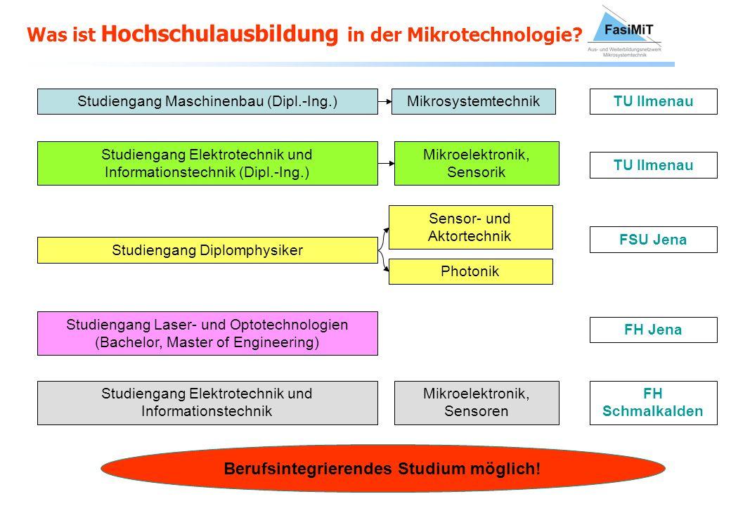 Was ist Hochschulausbildung in der Mikrotechnologie? Studiengang Maschinenbau (Dipl.-Ing.)MikrosystemtechnikTU Ilmenau Studiengang Elektrotechnik und