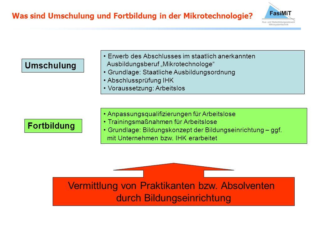 Was sind Umschulung und Fortbildung in der Mikrotechnologie? Umschulung Erwerb des Abschlusses im staatlich anerkannten Ausbildungsberuf Mikrotechnolo