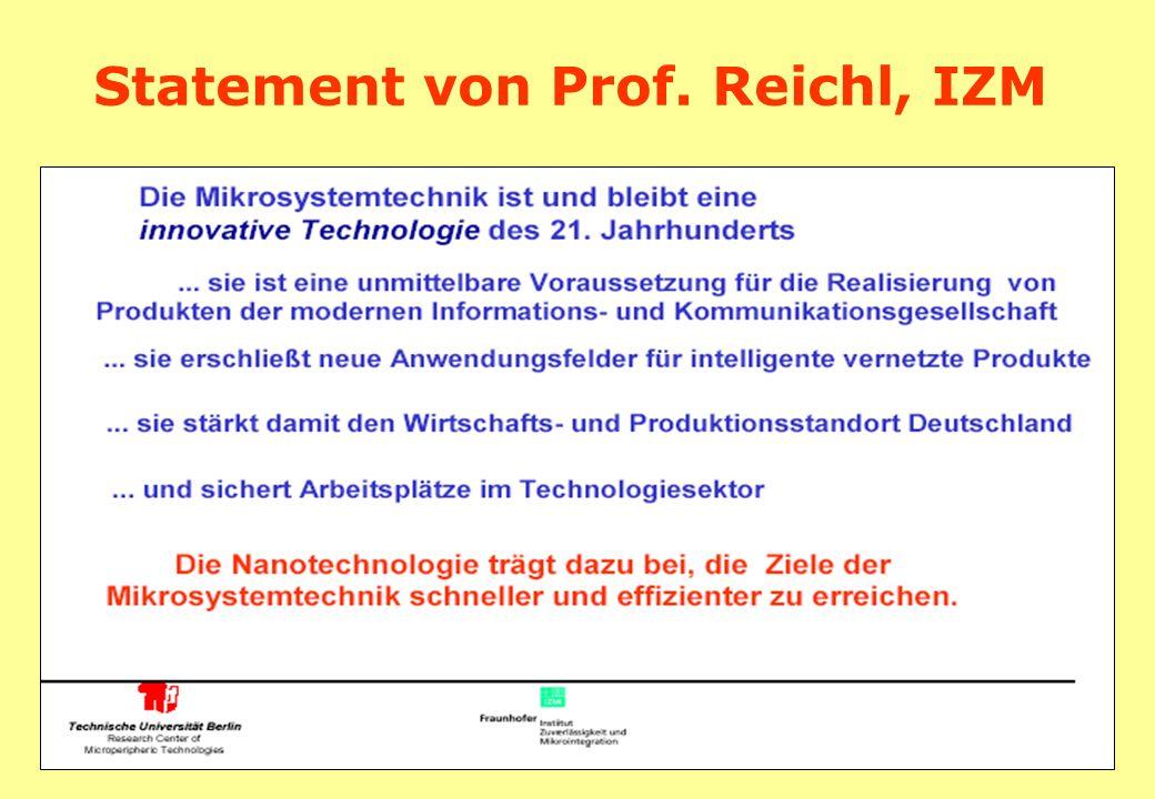 Statement von Prof. Reichl, IZM