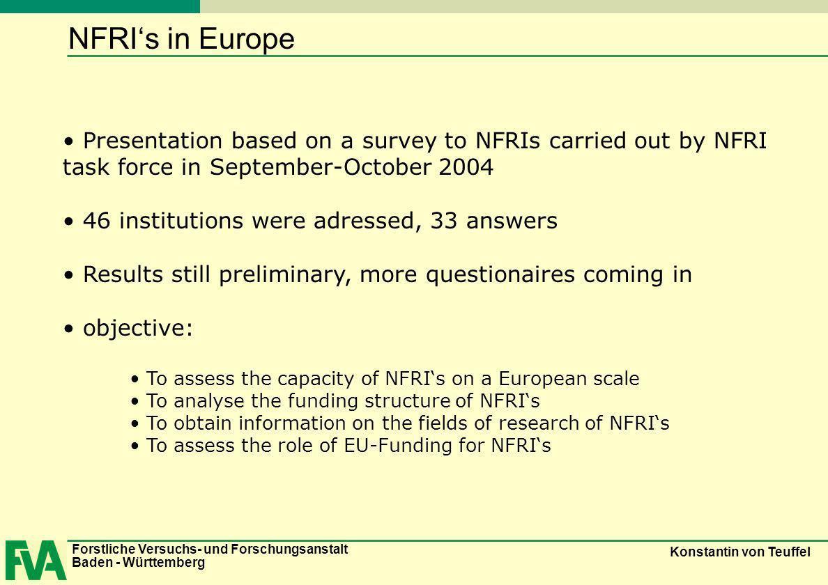 Forstliche Versuchs- und Forschungsanstalt Baden - Württemberg Konstantin von Teuffel NFRIs in Europe Presentation based on a survey to NFRIs carried