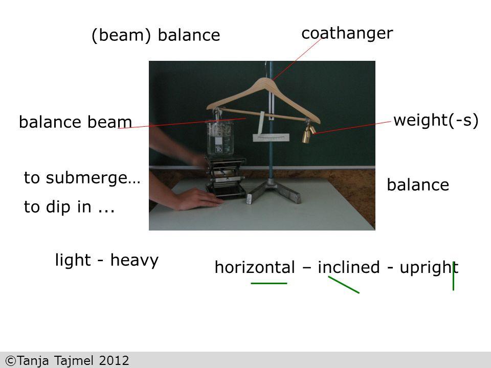 ©Tanja Tajmel 2012 (beam) balance horizontal – inclined - upright weight(-s) coathanger light - heavy to submerge… to dip in... balance beam balance 2