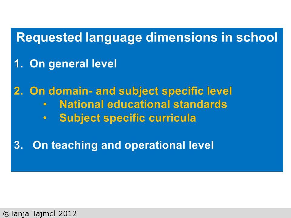©Tanja Tajmel 2012 Analysis framework for language functions (Tajmel 2011) 1.Educational standard 2.