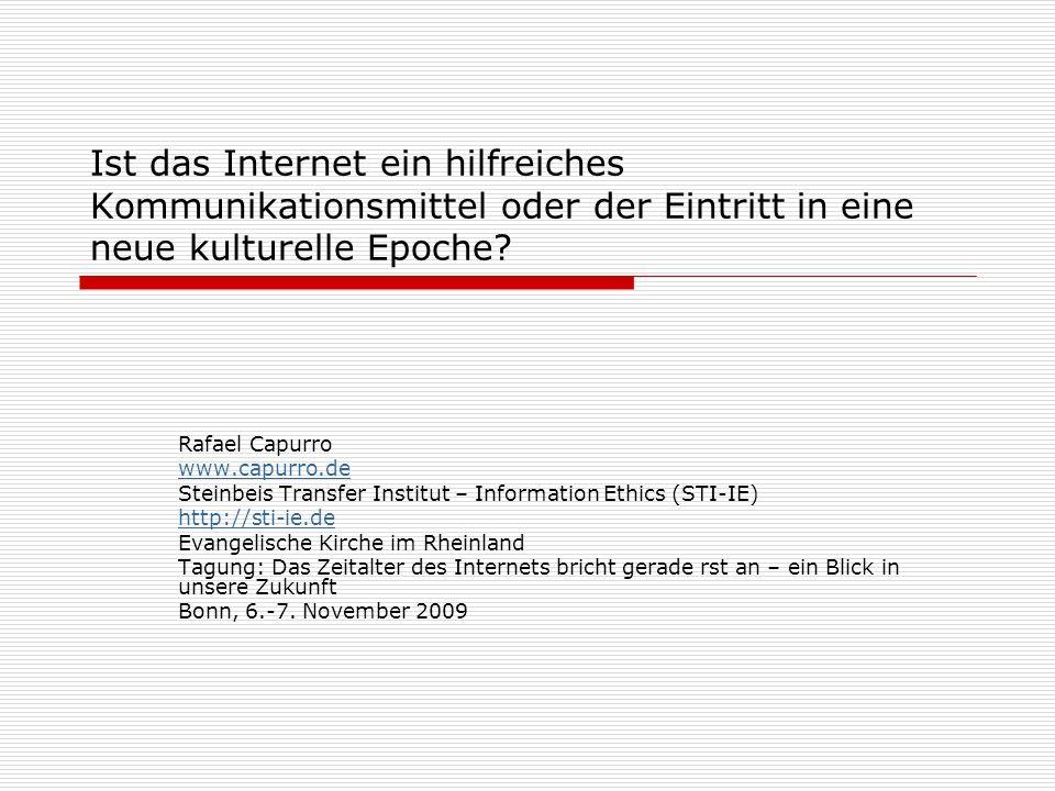 22 Quellen: Dieser Präsentation liegt teilweise der folgende Text zugrunde: Web 2.0: Gesellschaftliche, mediale und politische Auswirkungen http://www.capurro.de/web20.html Siehe auch: Homepage: http://www.capurro.dehttp://www.capurro.de ICIE: http://icie.zkm.d.ehttp://icie.zkm.d.e IRIE: http://www.i-r-i-e.nethttp://www.i-r-i-e.net