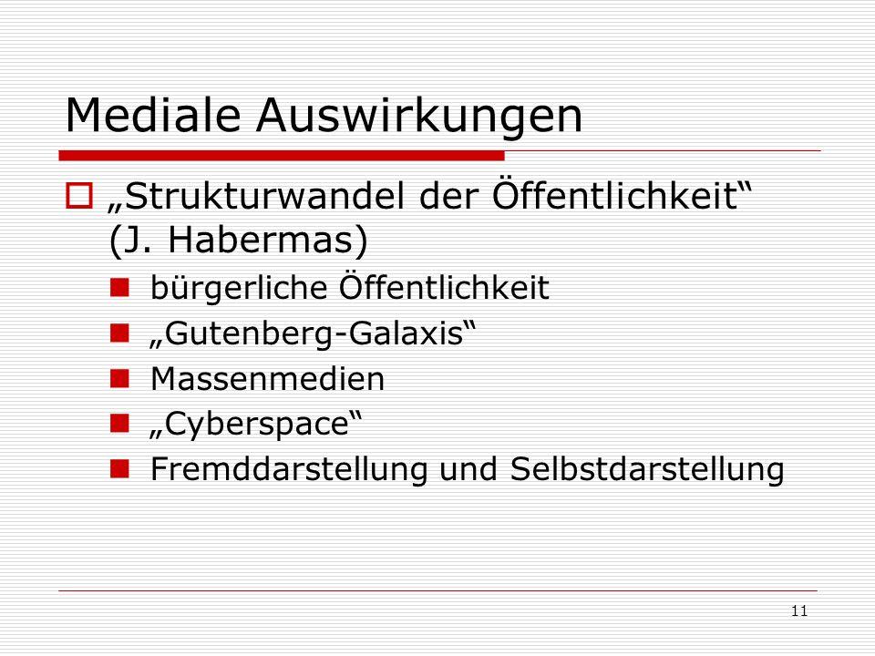 11 Mediale Auswirkungen Strukturwandel der Öffentlichkeit (J. Habermas) bürgerliche Öffentlichkeit Gutenberg-Galaxis Massenmedien Cyberspace Fremddars