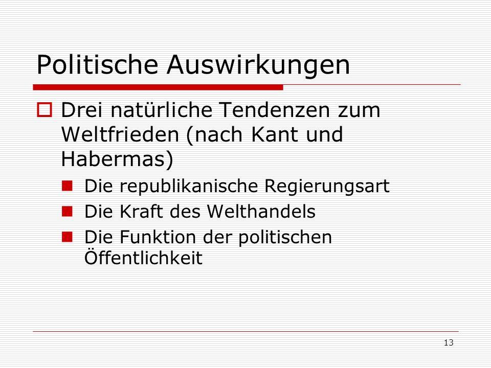 13 Politische Auswirkungen Drei natürliche Tendenzen zum Weltfrieden (nach Kant und Habermas) Die republikanische Regierungsart Die Kraft des Welthand