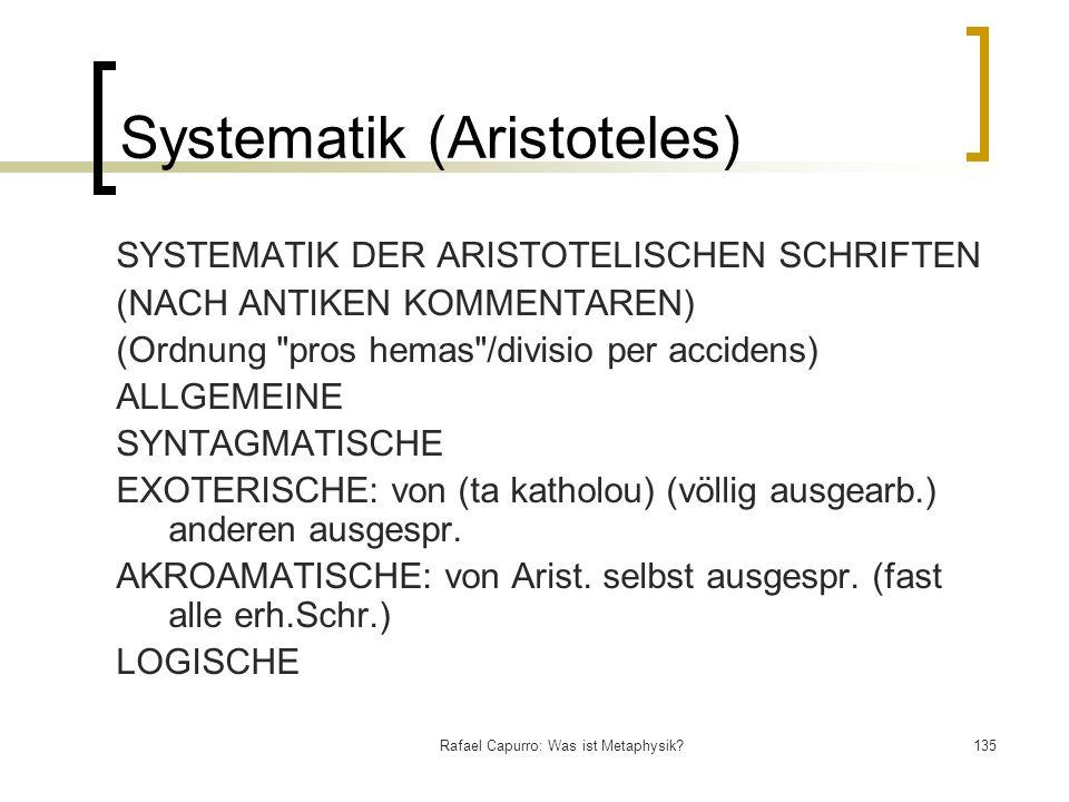 Rafael Capurro: Was ist Metaphysik?135 Systematik (Aristoteles) SYSTEMATIK DER ARISTOTELISCHEN SCHRIFTEN (NACH ANTIKEN KOMMENTAREN) (Ordnung
