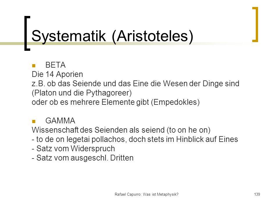 Rafael Capurro: Was ist Metaphysik?139 Systematik (Aristoteles) BETA Die 14 Aporien z.B. ob das Seiende und das Eine die Wesen der Dinge sind (Platon