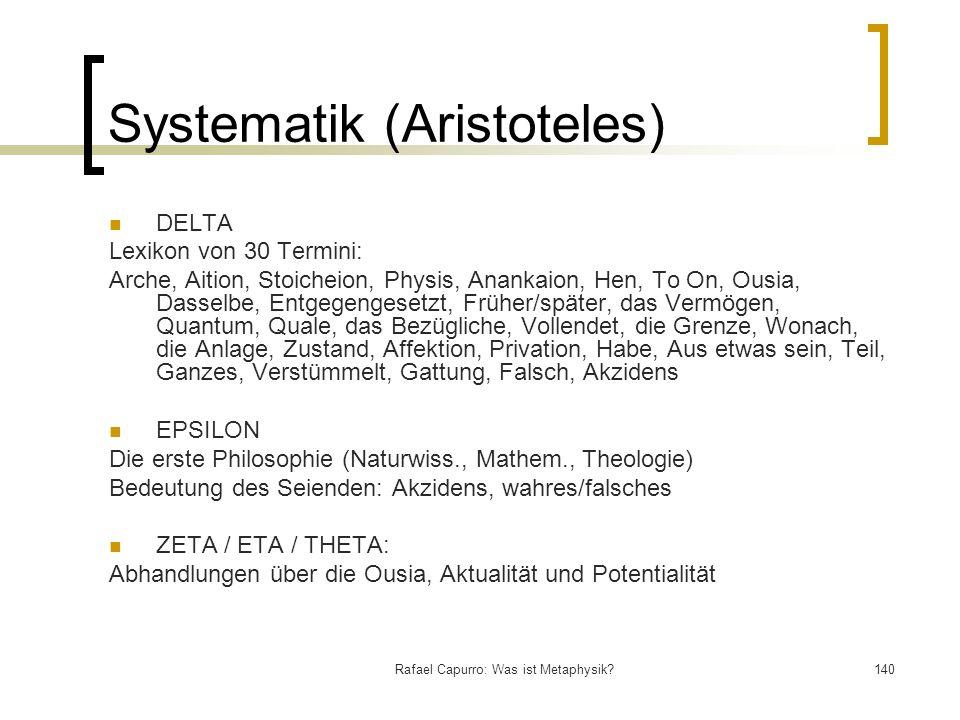 Rafael Capurro: Was ist Metaphysik?140 Systematik (Aristoteles) DELTA Lexikon von 30 Termini: Arche, Aition, Stoicheion, Physis, Anankaion, Hen, To On