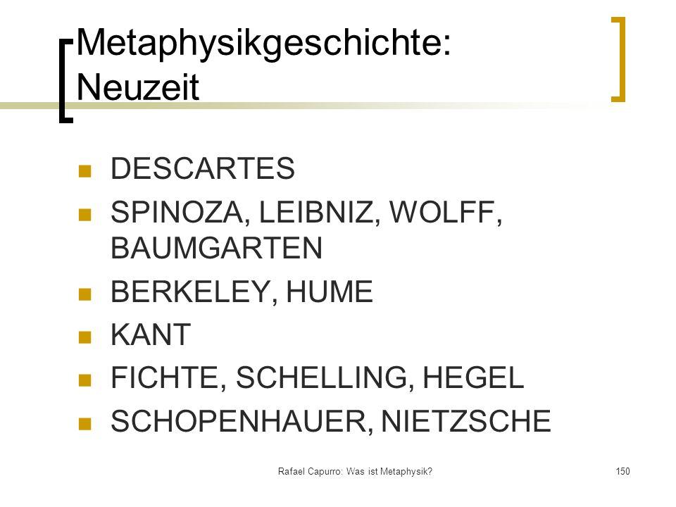 Rafael Capurro: Was ist Metaphysik?150 Metaphysikgeschichte: Neuzeit DESCARTES SPINOZA, LEIBNIZ, WOLFF, BAUMGARTEN BERKELEY, HUME KANT FICHTE, SCHELLI