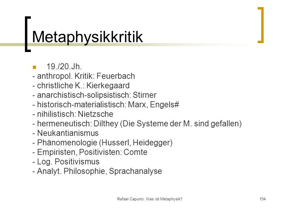 Rafael Capurro: Was ist Metaphysik?154 Metaphysikkritik 19./20.Jh. - anthropol. Kritik: Feuerbach - christliche K.: Kierkegaard - anarchistisch-solips