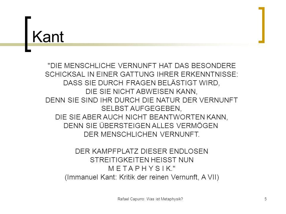 Rafael Capurro: Was ist Metaphysik?5 Kant