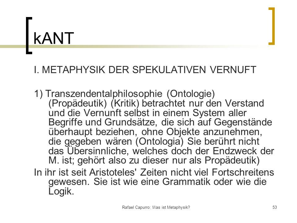 Rafael Capurro: Was ist Metaphysik?53 kANT I. METAPHYSIK DER SPEKULATIVEN VERNUFT 1) Transzendentalphilosophie (Ontologie) (Propädeutik) (Kritik) betr