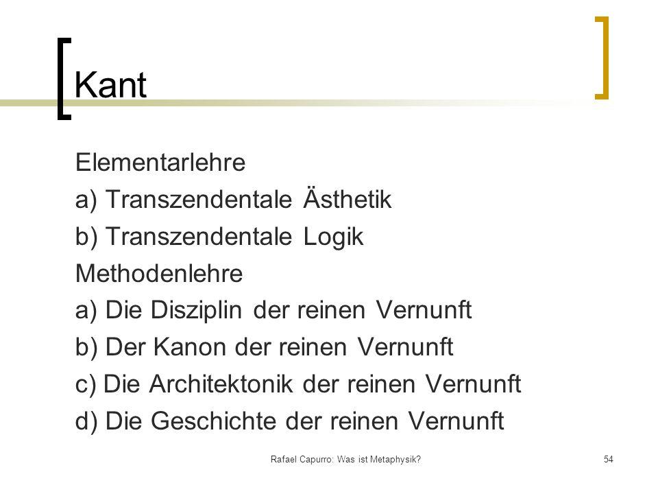 Rafael Capurro: Was ist Metaphysik?54 Kant Elementarlehre a) Transzendentale Ästhetik b) Transzendentale Logik Methodenlehre a) Die Disziplin der rein