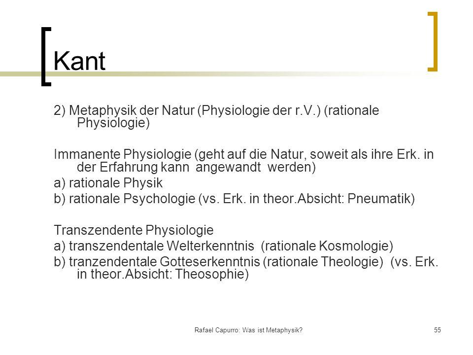 Rafael Capurro: Was ist Metaphysik?55 Kant 2) Metaphysik der Natur (Physiologie der r.V.) (rationale Physiologie) Immanente Physiologie (geht auf die