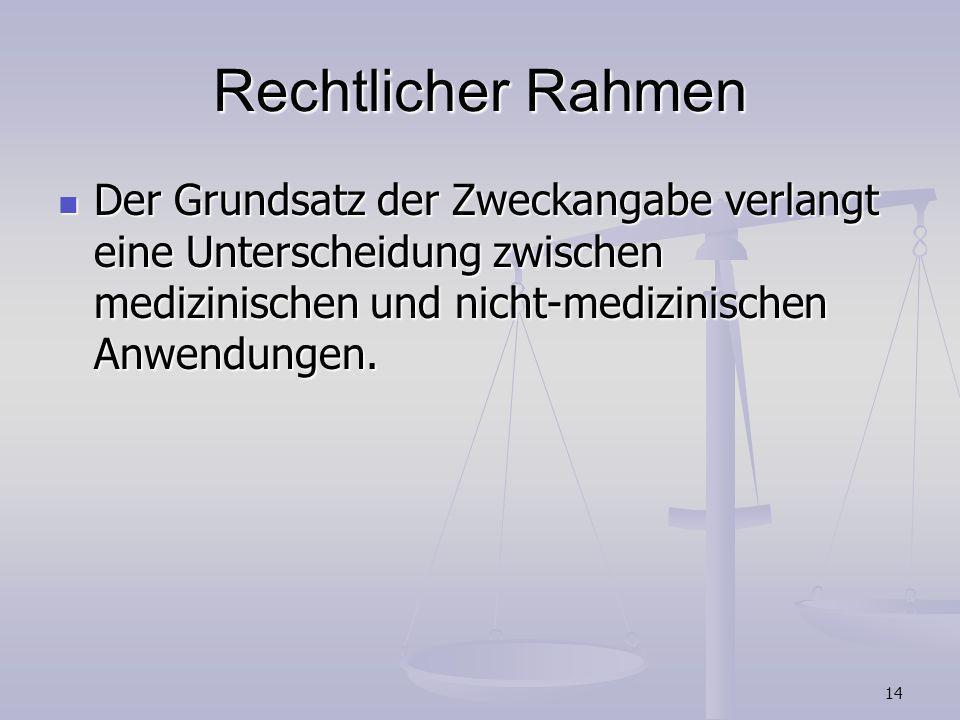 14 Rechtlicher Rahmen Der Grundsatz der Zweckangabe verlangt eine Unterscheidung zwischen medizinischen und nicht-medizinischen Anwendungen. Der Grund