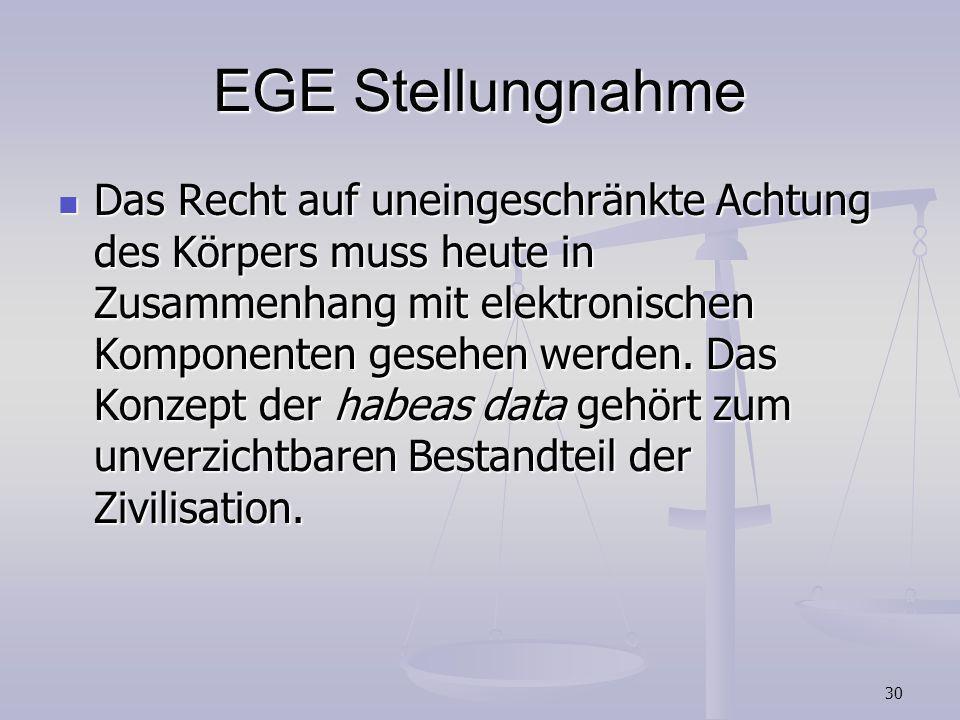 30 EGE Stellungnahme Das Recht auf uneingeschränkte Achtung des Körpers muss heute in Zusammenhang mit elektronischen Komponenten gesehen werden. Das
