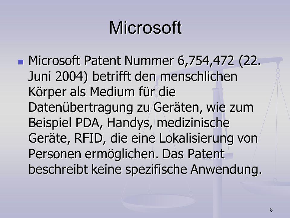 8 Microsoft Microsoft Patent Nummer 6,754,472 (22. Juni 2004) betrifft den menschlichen Körper als Medium für die Datenübertragung zu Geräten, wie zum