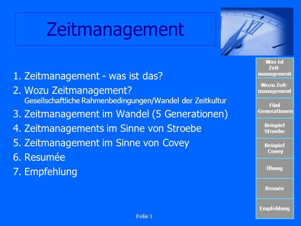 Folie 12 Zeitmanagement Was ist Zeit- management Wozu Zeit- management Fünf Generationen Beispiel Stroebe Beispiel Covey Übung Resuée Empfehlung Werte/Normen Art des Zeitmanagements
