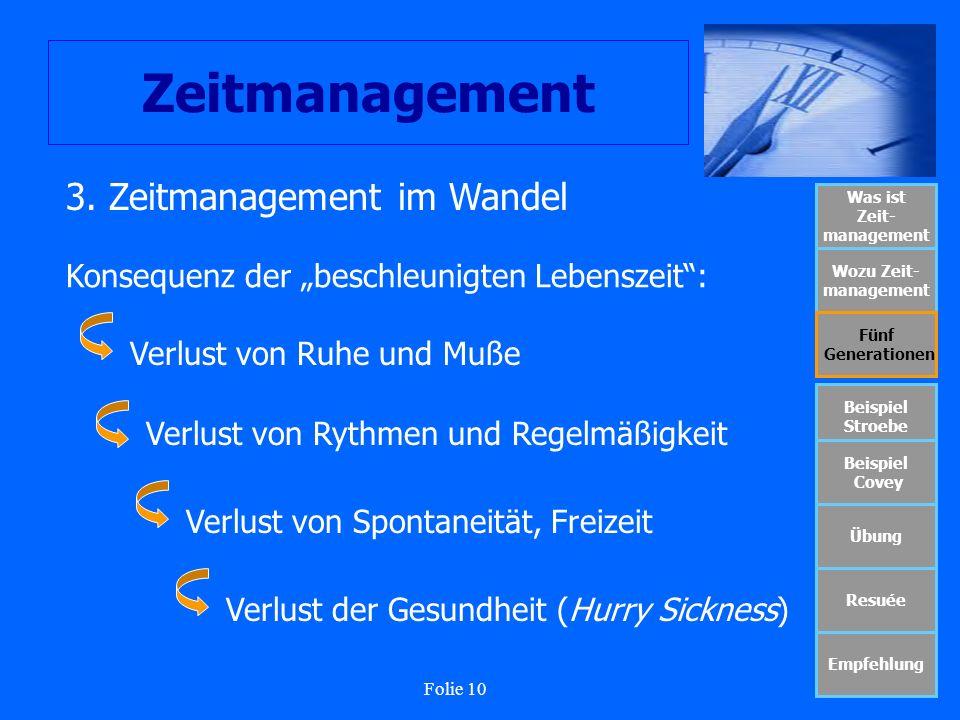 Folie 10 Zeitmanagement Was ist Zeit- management Wozu Zeit- management Fünf Generationen Beispiel Stroebe Beispiel Covey Übung Resuée Empfehlung 3. Ze