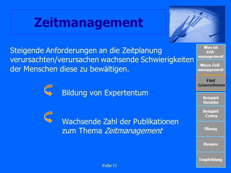 Folie 11 Zeitmanagement Was ist Zeit- management Wozu Zeit- management Fünf Generationen Beispiel Stroebe Beispiel Covey Übung Resuée Empfehlung Steig