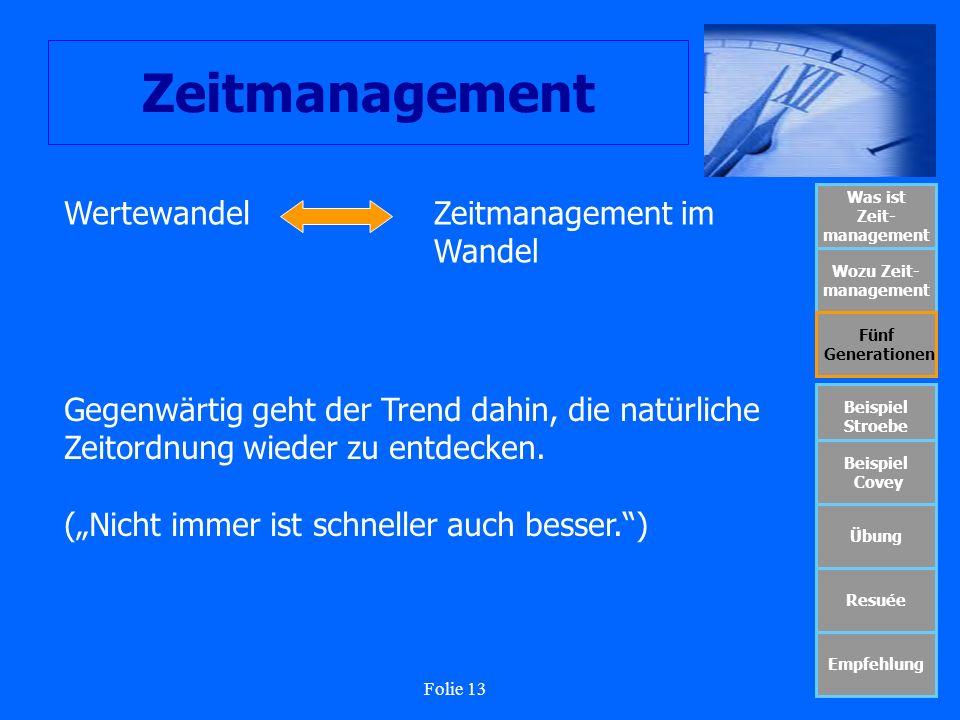 Folie 13 Zeitmanagement Was ist Zeit- management Wozu Zeit- management Fünf Generationen Beispiel Stroebe Beispiel Covey Übung Resuée Empfehlung Werte