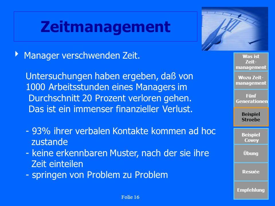 Folie 16 Zeitmanagement Was ist Zeit- management Wozu Zeit- management Fünf Generationen Beispiel Stroebe Beispiel Covey Übung Resuée Empfehlung Manag