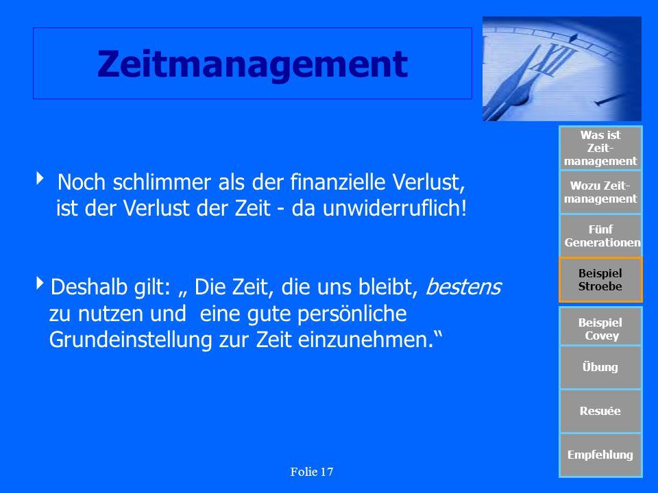 Folie 17 Zeitmanagement Was ist Zeit- management Wozu Zeit- management Fünf Generationen Beispiel Stroebe Beispiel Covey Übung Resuée Empfehlung Noch