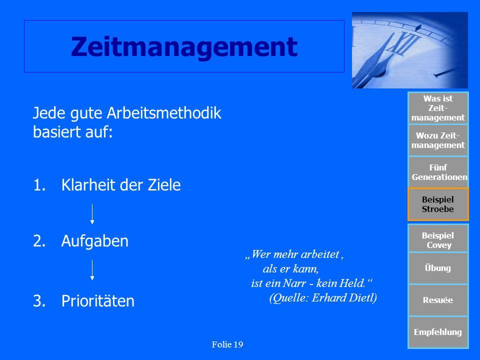 Folie 19 Zeitmanagement Was ist Zeit- management Wozu Zeit- management Fünf Generationen Beispiel Stroebe Beispiel Covey Übung Resuée Empfehlung Jede