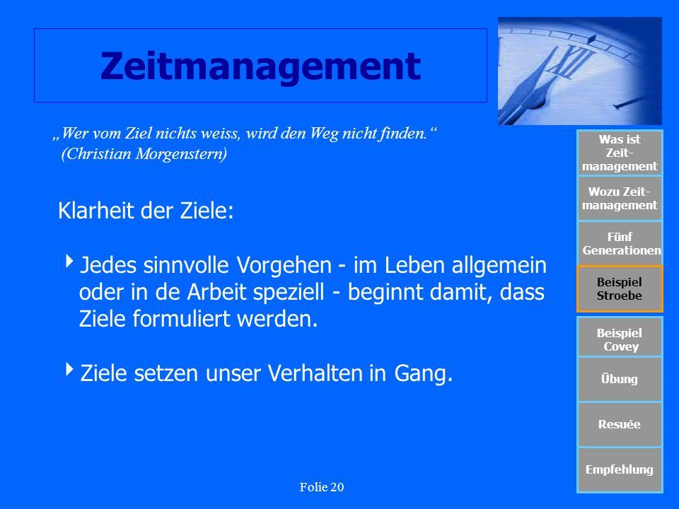 Folie 20 Zeitmanagement Was ist Zeit- management Wozu Zeit- management Fünf Generationen Beispiel Stroebe Beispiel Covey Übung Resuée Empfehlung Wer v