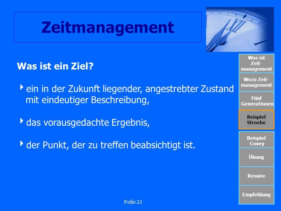 Folie 21 Zeitmanagement Was ist Zeit- management Wozu Zeit- management Fünf Generationen Beispiel Stroebe Beispiel Covey Übung Resuée Empfehlung Was i