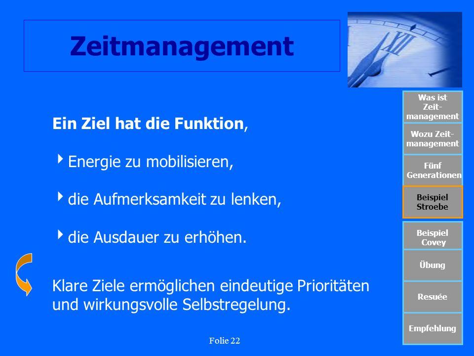 Folie 22 Zeitmanagement Was ist Zeit- management Wozu Zeit- management Fünf Generationen Beispiel Stroebe Beispiel Covey Übung Resuée Empfehlung Ein Z