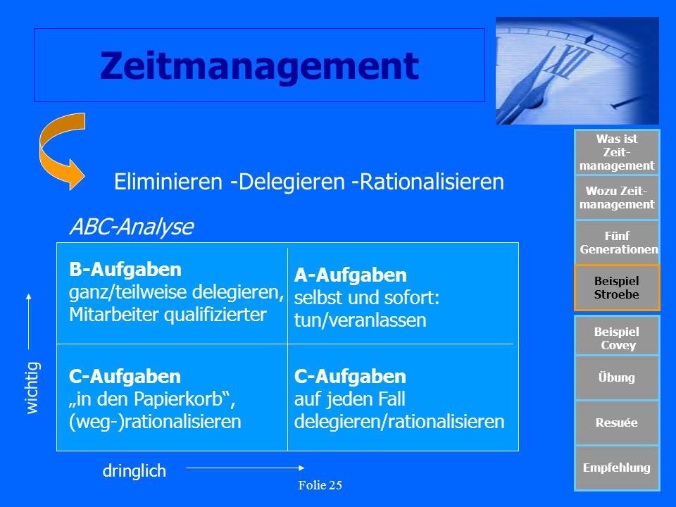 Folie 25 Zeitmanagement Was ist Zeit- management Wozu Zeit- management Fünf Generationen Beispiel Stroebe Beispiel Covey Übung Resuée Empfehlung Elimi