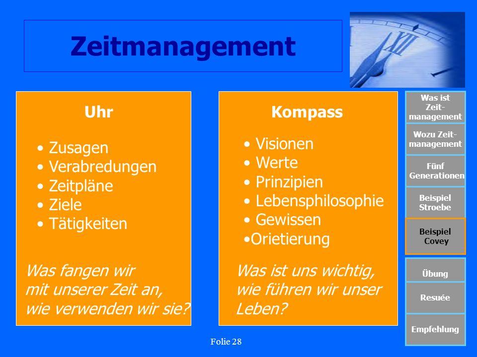 Folie 28 Zeitmanagement Was ist Zeit- management Wozu Zeit- management Fünf Generationen Beispiel Stroebe Beispiel Covey Übung Resuée Empfehlung UhrKo