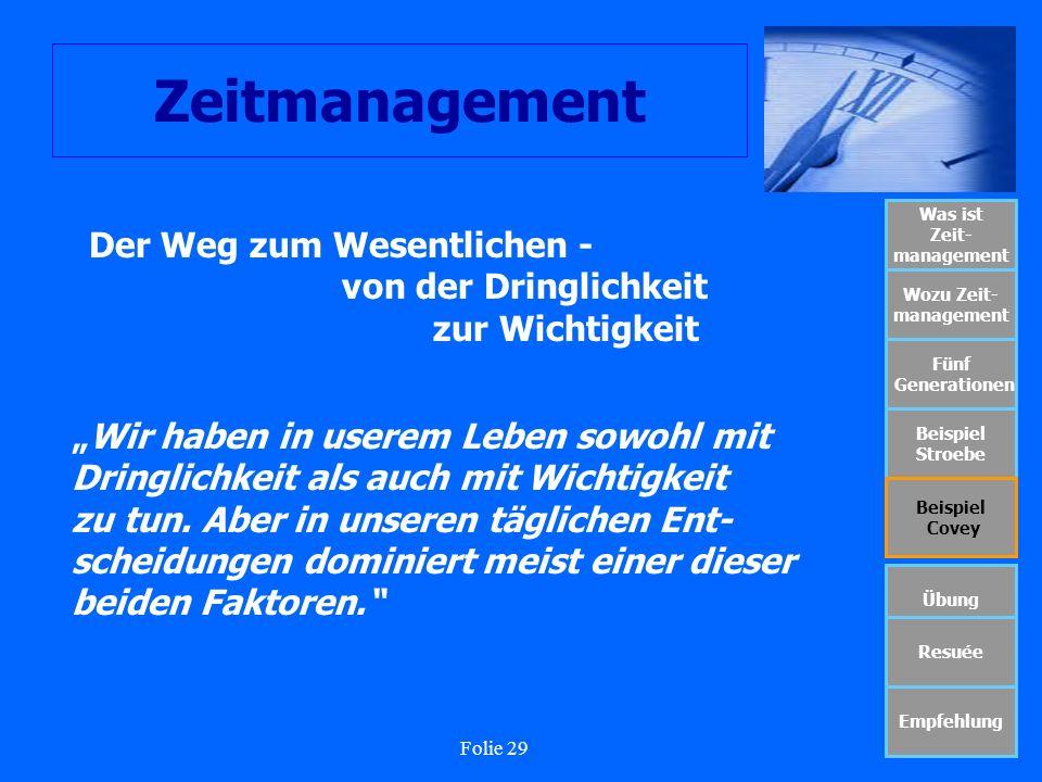 Folie 29 Zeitmanagement Was ist Zeit- management Wozu Zeit- management Fünf Generationen Beispiel Stroebe Beispiel Covey Übung Resuée Empfehlung Der W