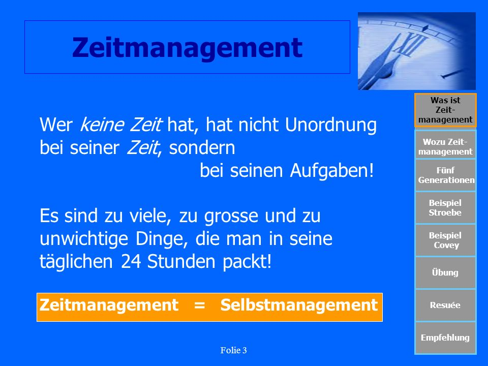 Folie 14 Zeitmanagement Was ist Zeit- management Wozu Zeit- management Fünf Generationen Beispiel Stroebe Beispiel Covey Übung Resuée Empfehlung Fünf Generationen des Zeitmanagements 1.