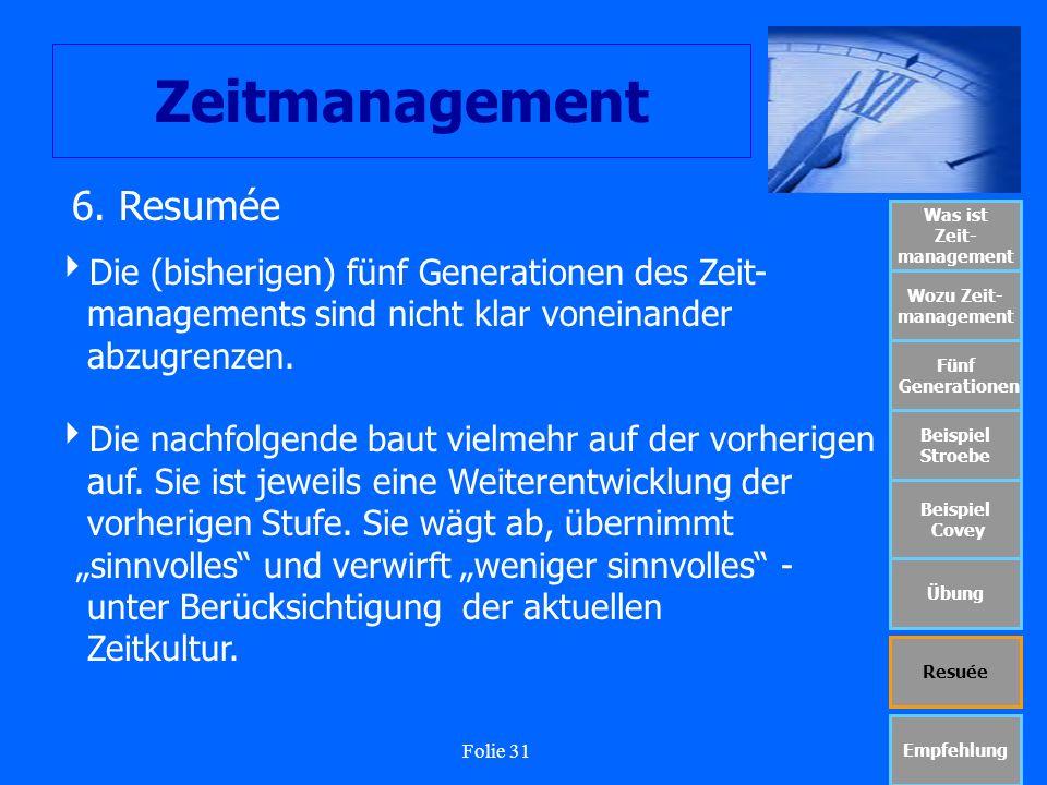 Folie 31 Zeitmanagement Was ist Zeit- management Wozu Zeit- management Fünf Generationen Beispiel Stroebe Beispiel Covey Übung Resuée Empfehlung 6. Re