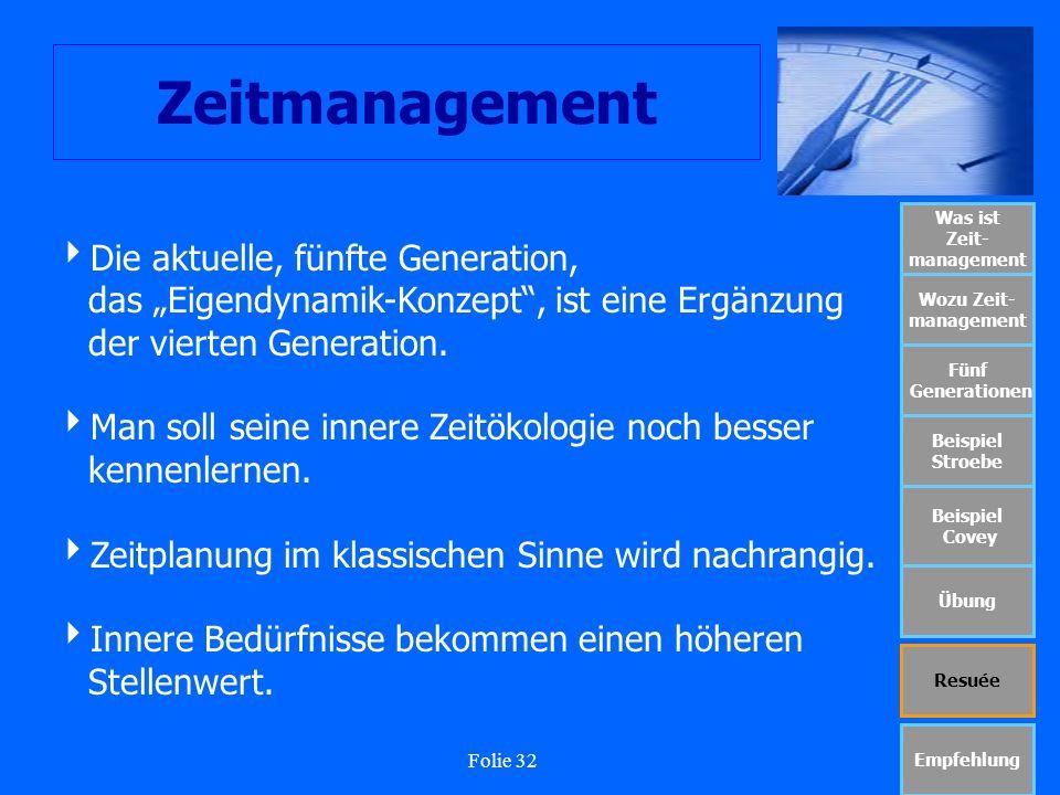 Folie 32 Zeitmanagement Was ist Zeit- management Wozu Zeit- management Fünf Generationen Beispiel Stroebe Beispiel Covey Übung Resuée Empfehlung Die a