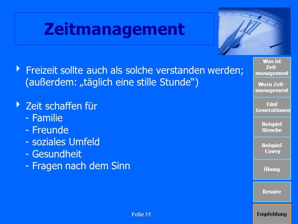 Folie 35 Zeitmanagement Was ist Zeit- management Wozu Zeit- management Fünf Generationen Beispiel Stroebe Beispiel Covey Übung Resuée Empfehlung Freiz
