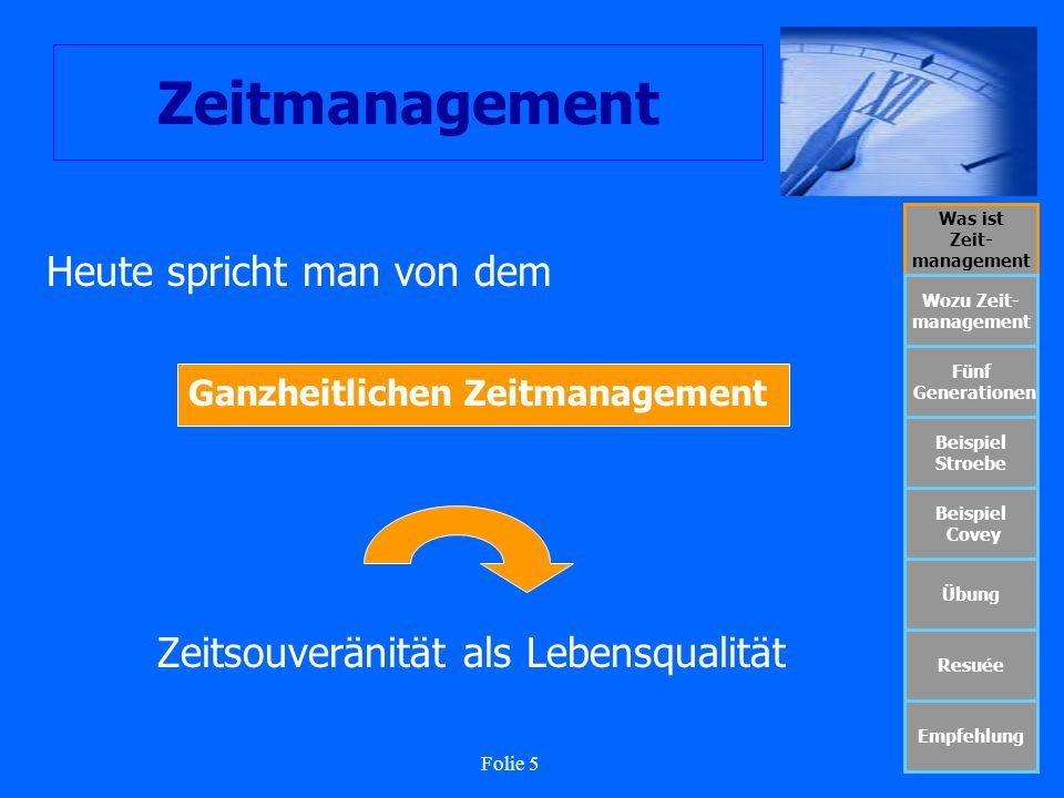 Folie 5 Zeitmanagement Was ist Zeit- management Wozu Zeit- management Fünf Generationen Beispiel Stroebe Beispiel Covey Übung Resuée Empfehlung Heute