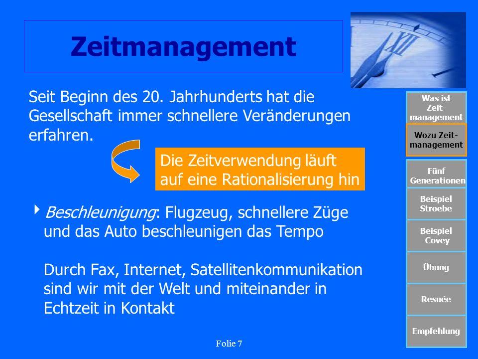 Folie 7 Zeitmanagement Was ist Zeit- management Wozu Zeit- management Fünf Generationen Beispiel Stroebe Beispiel Covey Übung Resuée Empfehlung Die Ze