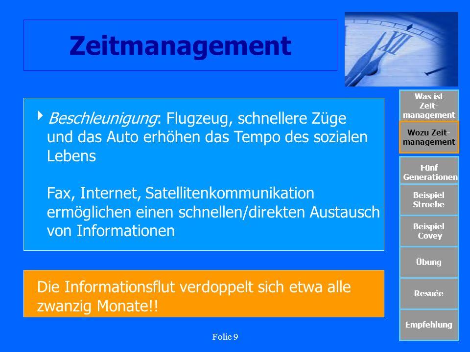 Folie 9 Zeitmanagement Was ist Zeit- management Wozu Zeit- management Fünf Generationen Beispiel Stroebe Beispiel Covey Übung Resuée Empfehlung Beschl