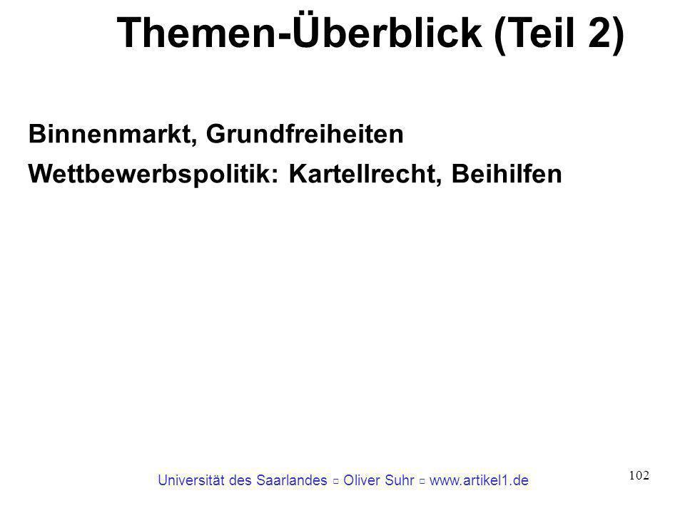 Universität des Saarlandes Oliver Suhr www.artikel1.de 102 Themen-Überblick (Teil 2) Binnenmarkt, Grundfreiheiten Wettbewerbspolitik: Kartellrecht, Be